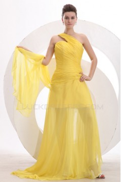 One-Shoulder Long Yellow Chiffon Prom Evening Formal Party Dresses ED010172