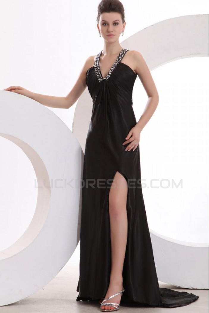 Long Black Beaded Prom Evening Formal Party Dresses ED010174