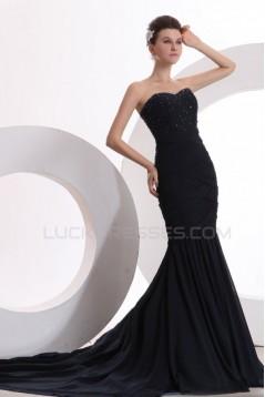 Trumpet/Mermaid Sweetheart Beaded Long Black Prom Evening Formal Party Dresses ED010175