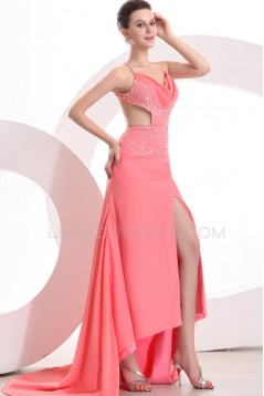High Low Pink Chiffon Beaded Prom Evening Formal Party Dresses ED010177