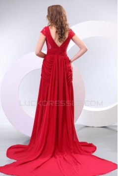 Long Red Chiffon and Lace Prom Evening Formal Party Dresses ED010179