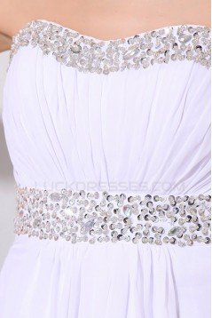 Empire Long White Chiffon Beaded Prom Evening Formal Party Dresses/Maternity Evening Dresses ED010182