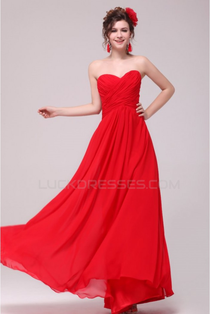 A-Line Sweetheart Long Red Chiffon Prom Evening Formal Party Dresses ED010184