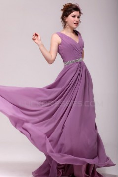 A-Line V-Neck Beaded Long Chiffon Prom Evening Formal Party Dresses ED010185
