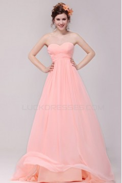 Empire Sweetheart Long Pink Chiffon Prom Evening Formal Party Dresses/Maternity Dresses ED010186