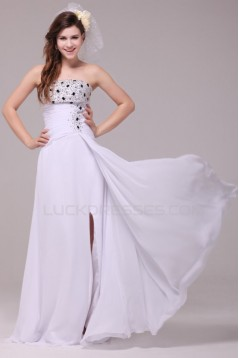 Long White Chiffon Beaded Prom Evening Formal Party Dresses ED010188