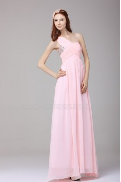 Long Pink One-Shoulder Beaded Chiffon Prom Evening Formal Party Dresses ED010189
