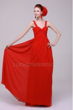 A-Line Long Red Chiffon Prom Evening Formal Party Dresses/Bridesmaid Dresses ED010190
