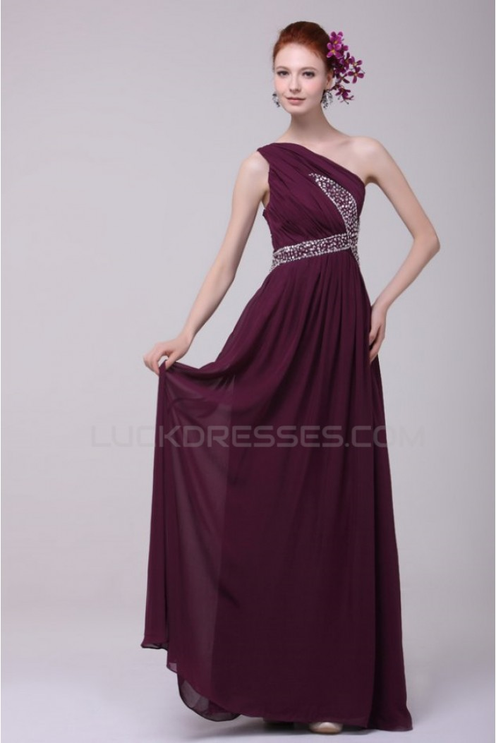 Beaded One-Shoulder Long Chiffon Prom Evening Formal Party Dresses ED010193
