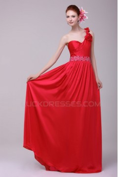 Long Red One-Shoulder Beaded Prom Evening Formal Party Dresses ED010194