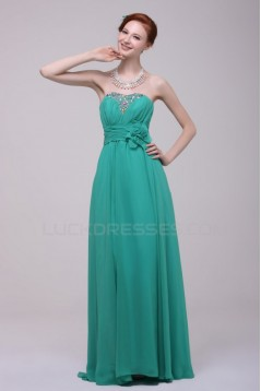 A-Line Strapless Beaded Long Chiffon Prom Evening Formal Party Dresses ED010196