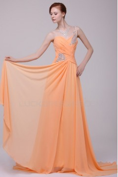 A-Line One-Shoulder Beaded Long Chiffon Prom Evening Formal Party Dresses ED010197