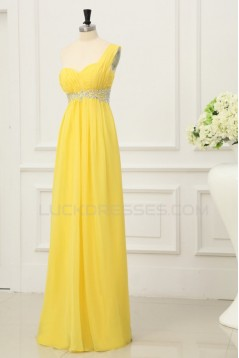 A-Line One-Shoulder Beaded Long Yellow Chiffon Prom Evening Formal Party Dresses/Maternity Evening Dresses ED010199