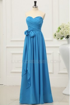 A-Line Sweetheart Long Blue Chiffon Prom Evening Formal Party Dresses ED010200