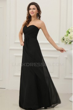 A-Line Sweetheart Long Black Chiffon Prom Evening Formal Party Dresses ED010202