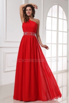 A-Line One-Shoulder Beaded Long Red Chiffon Prom Evening Formal Party Dresses ED010203