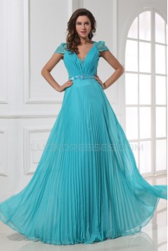 A-Line Cap Sleeve Pleated Long Blue Chiffon and Lace Prom Evening Formal Party Dresses ED010204