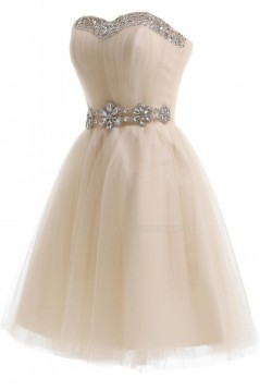 Short Beaded Tulle Prom Evening Formal Party Dresses ED010207