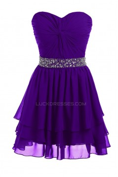 A-Line Sweetheart Beaded Short Chiffon Prom Evening Formal Party Dresses ED010211