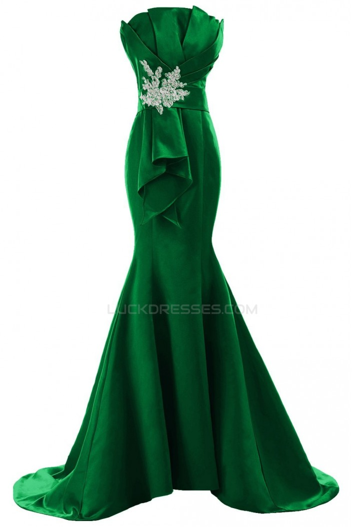 Trumpet/Mermaid Strapless Long Green Prom Evening Formal Party Dresses ED010214