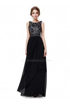 Long Black Chiffon and Lace Prom Evening Formal Party Dresses ED010216