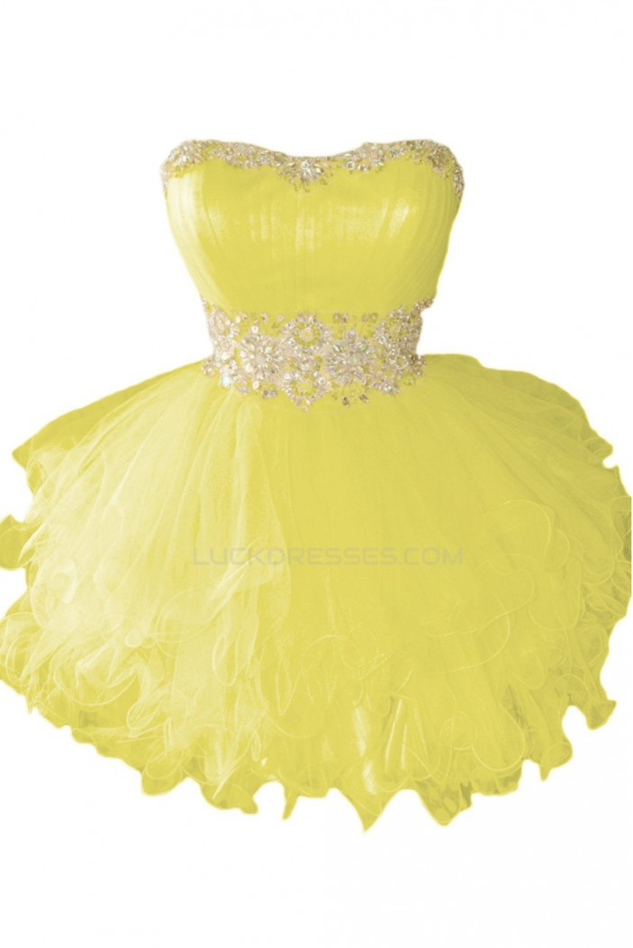 Beaded Strapless Short Yellow Prom Evening Formal Party Dresses ED010218