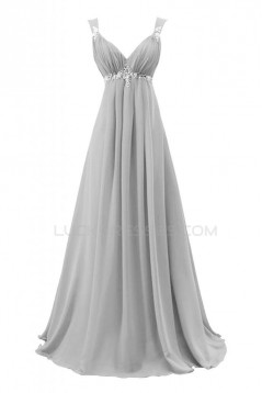 A-Line Beaded Long Blue Chiffon Prom Evening Formal Party Dresses ED010219
