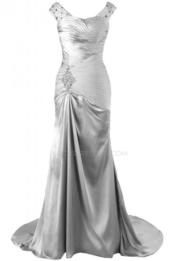 Beaded Long Silver Prom Evening Formal Party Dresses ED010224