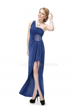 One-Shoulder Beaded Blue Chiffon Prom Evening Formal Party Dresses ED010232