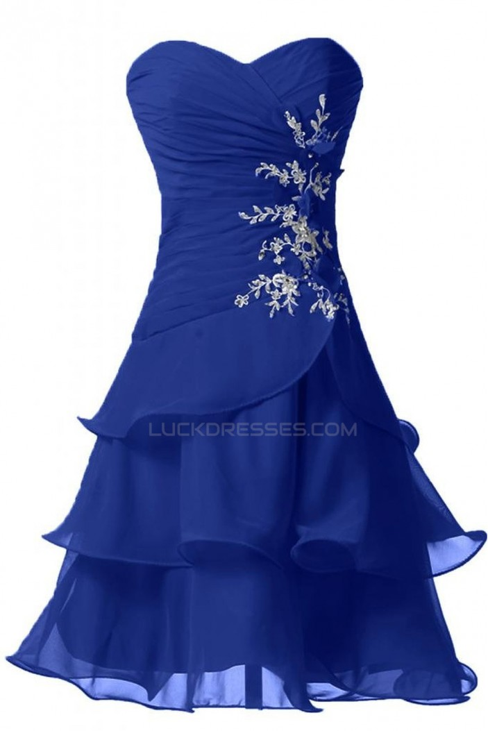 A-Line Sweetheart Short Blue Chiffon Prom Evening Formal Party Dresses ED010233