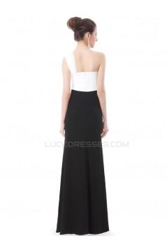 Black White One-Shoulder Long Prom Evening Formal Party Dresses ED010234