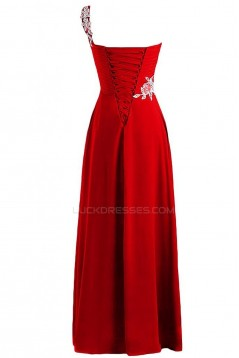 One-Shoulder Long Red Chiffon Prom Evening Formal Party Dresses ED010235
