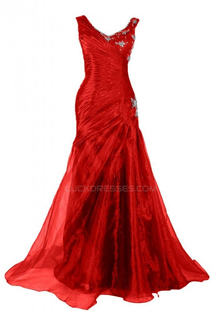 Long Red Beaded Prom Evening Formal Party Dresses ED010236