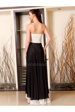 Black White Sweetheart Long Chiffon Prom Evening Formal Party Dresses ED010237