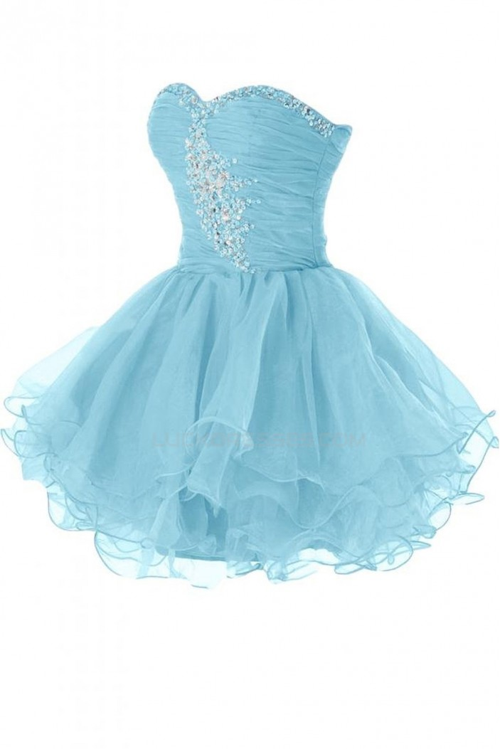 Beaded Sweetheart Short Blue Prom Evening Formal Party Dresses ED010242