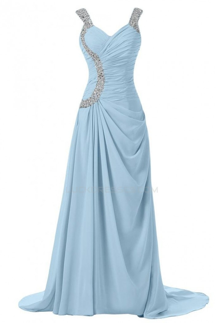 Beaded Long Blue Chiffon Prom Evening Formal Party Dresses ED010247