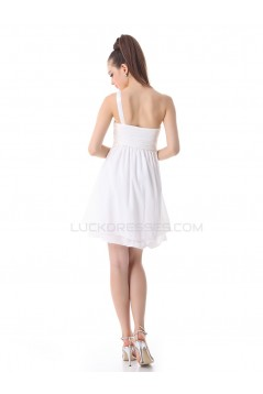 Short White One-Shoulder Chiffon Prom Evening Formal Party Dresses ED010250