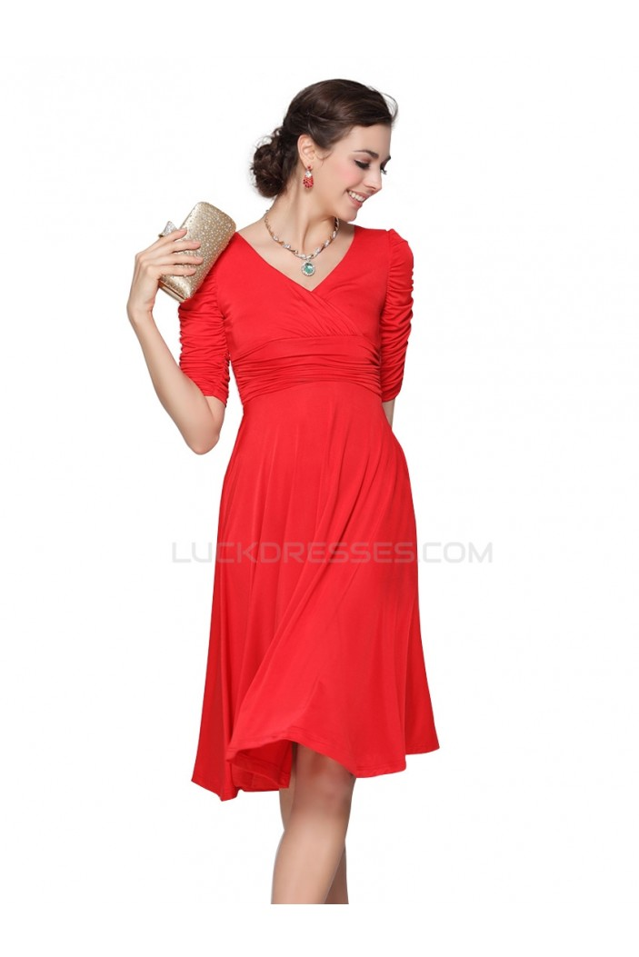 A-Line Short Sleeve Red Prom Evening Formal Party Dresses ED010254