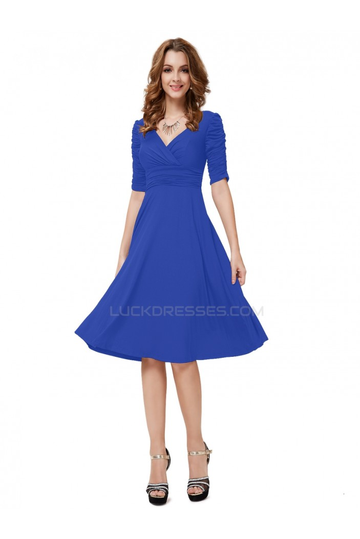 A-Line Short Sleeve Blue Prom Evening Formal Party Dresses ED010255