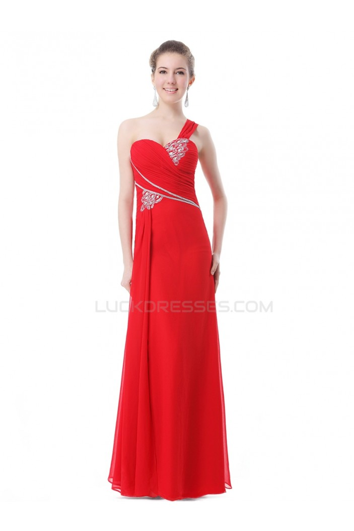 One-Shoulder Long Red Chiffon Prom Evening Formal Party Dresses ED010256