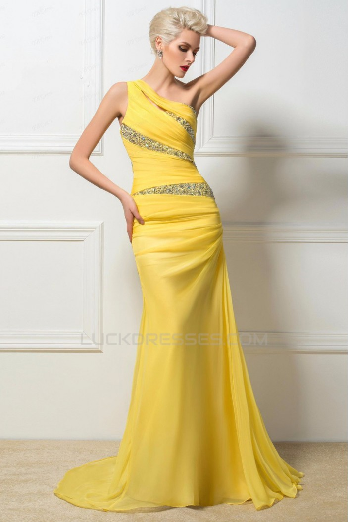 Trumpet/Mermaid One-Shoulder Beaded Long Yellow Chiffon Prom Evening Formal Party Dresses ED010259