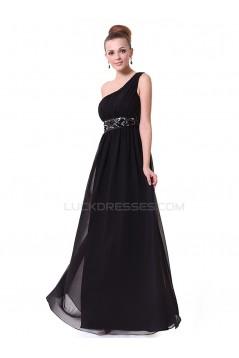 Long Black Beaded One-Shoulder Prom Evening Formal Party Dresses ED010263
