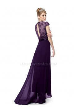 Long Purple Beaded Chiffon and Lace Prom Evening Formal Party Dresses ED010264