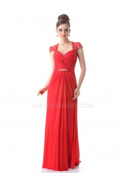 Long Red Beaded Chiffon and Lace Prom Evening Formal Party Dresses ED010265