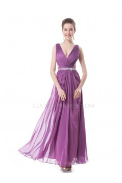 A-Line V-Neck Beaded Long Purple Prom Evening Formal Party Dresses ED010267