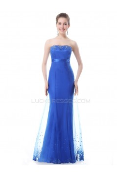 Trumpet/Mermaid Strapless Long Blue Prom Evening Formal Party Dresses ED010268