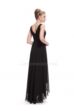 High Low Long Black Chiffon Prom Evening Formal Party Dresses ED010269