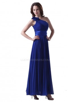 A-Line One-Shoulder Pleated Long Blue Chiffon Prom Evening Formal Party Dresses ED010274