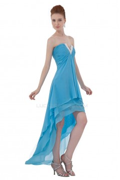 High Low Short Blue Chiffon Prom Evening Formal Party Dresses ED010277