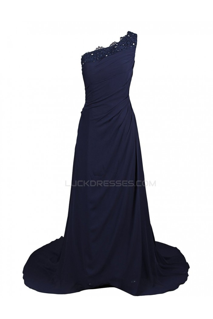 One-Shoulder Long Blue Prom Evening Formal Party Dresses ED010280